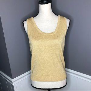 St. John | Basic Metallic Gold Sweater Tank